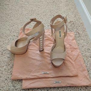 Miu Miu patent nude platform sandals